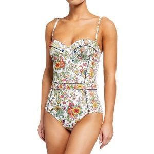 Tory Burch floral print one piece swimsuit XS